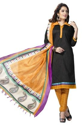 Black Solid Semi Sticthed Suit With Matching Dupatta - Varanga