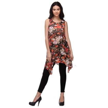 Multi-colour Busy Overlap Floral High-low Tunic - Varanga
