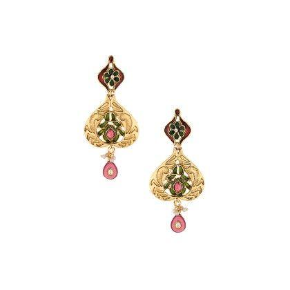 Enamel Gold Tone Danglers With Pink Color Stones - Voylla