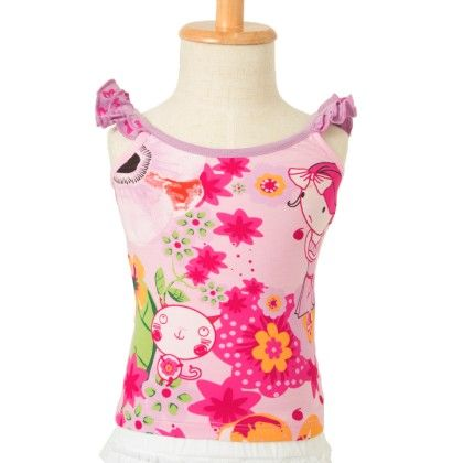 Cotton Jersey Top With Print-pink - Primme Girl