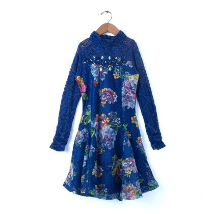 Party Wear Full Sleeves Dress - Royal Blue - TINY GIRL