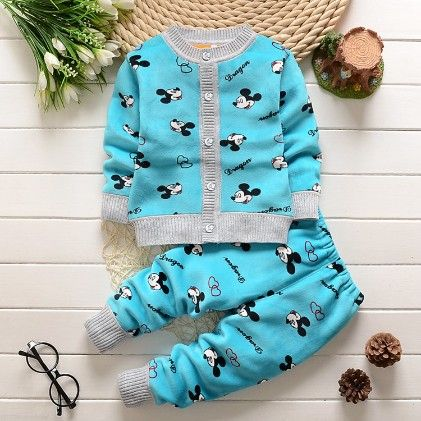 Lovely Cartoon Print Sweater & Pant - 2 Pcs Set - Blue - Mellow