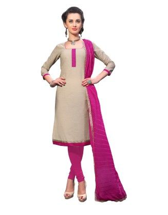 Beige Exclusive Dress Material With Embroidery Fancy Dupatta - Riti Riwaz