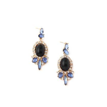 Blue & Black Stone Long Earrings - Jazz Fashions