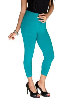 3/4th Leggings Solid Lycra Sea Green - De Moza