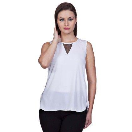 White V-mesh Top - StyleStone