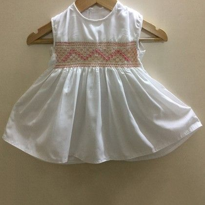 Baby Frock With Rose And Diamond Design Smocking - Angel Closet