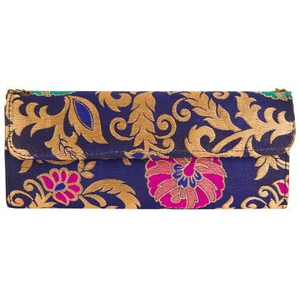 Jaipurse Blue And Golden Clutch Bag Purse-blue - Jaipur Se