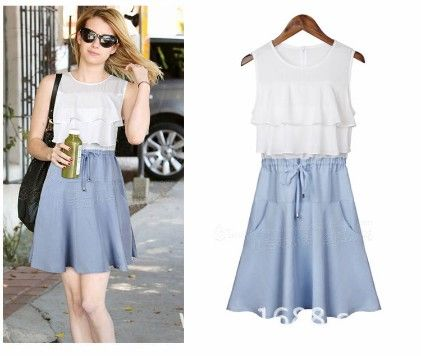 Short Blue Dress - Drape In Vogue