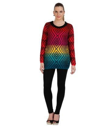 Geometric Designed Womens Sweater - Multi - SKILDERS