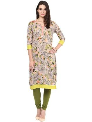 Peach And Light Green Paisley Printed Kurti - StyleStone