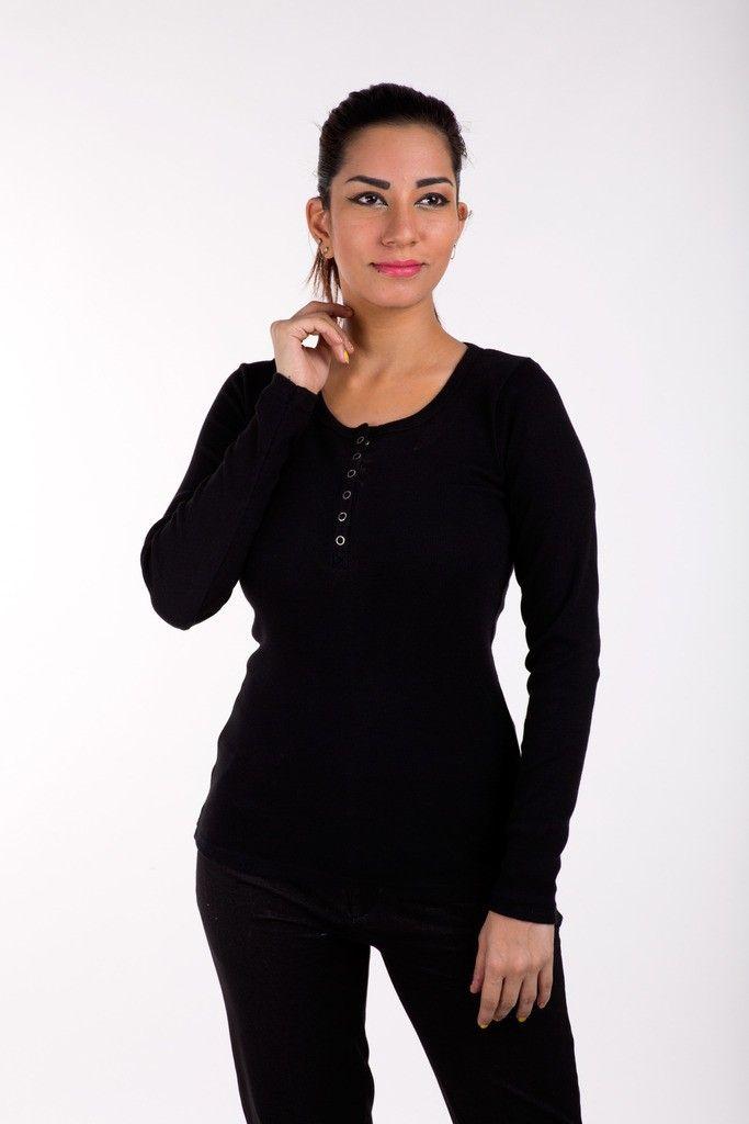 Full Sleeve Tops Solid Cotton Lycra Black - De Moza