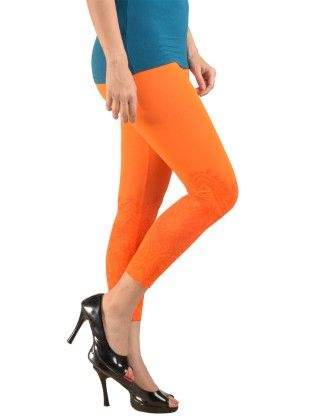3/4th  Leggings  Printed  Lycra  Orange - De Moza