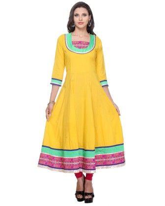 Yellow Cambric Printed Kurti - Riti Riwaz - 250393