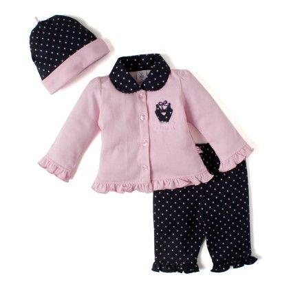 Full Open Collar Top With Knitted Full Pant With Hat - L.pink - TOFFYHOUSE
