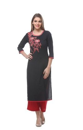 Black Kurta With Silver And Red Embroidery On One Shouder - Riti Riwaz
