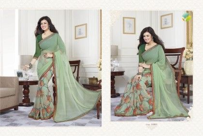 Sea Green Half Floral Saree - Afreen