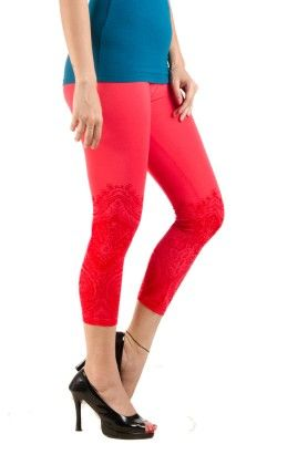 3/4th  Leggings  Printed  Lycra  Coral - De Moza