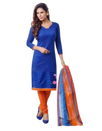 Blue Exclusive Chanderi Printed Dress Material With Matching Dupatta - Riti Riwaz