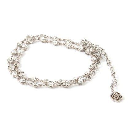 Metal Belt Silver With Diamonds - Ribbon
