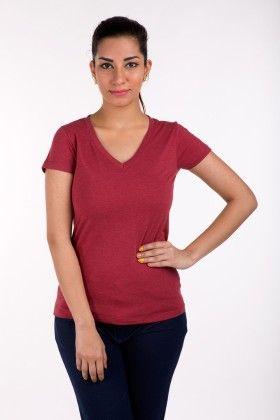 Short Sleeve Tops Solid Maroon Melange - De Moza