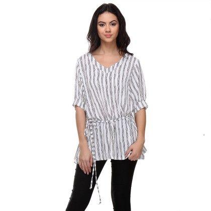White Wavy-striped Tunic - Varanga