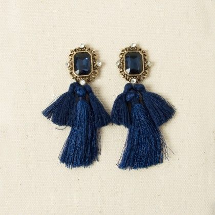 Becks Navy Blue Danglers - Fashion Fiesta