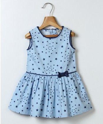 Star Print Dress With Bow Blue - Beebay