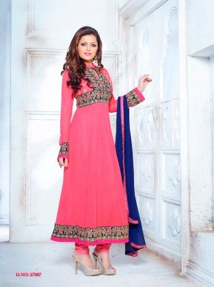 Pink Georgette Dress Material - Touch Trends Ethnic