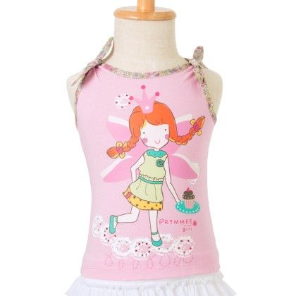 Cotton Jersey Top With Print- Pink - Primme Girl
