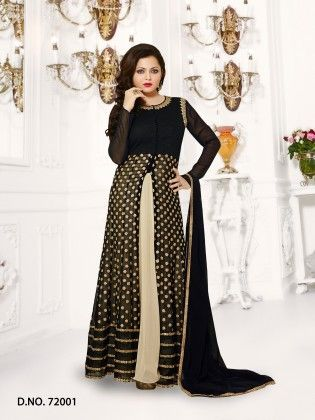 Georgette Dress Material Black - Touch Trends Ethnic