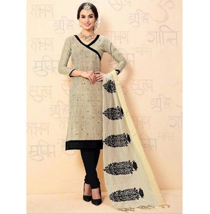 Mouse Black Chanderi Dress Material - Mouse Black - Volono