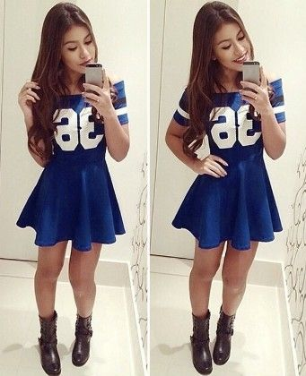 Sporty Off Shoulder Short Dress - Oomph