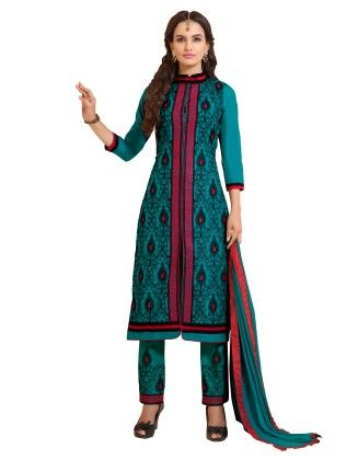 Blue Exclusive Straight Fit Dress Material With Nazmeen Fancy Dupatta - Riti Riwaz - 243002