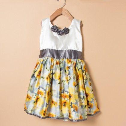 Yellow Printed Dress Over Cream With Grey Belt - Winakki Kids