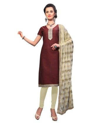 Brown Exclusive Dress Material With Embroidery Fancy Dupatta - Riti Riwaz