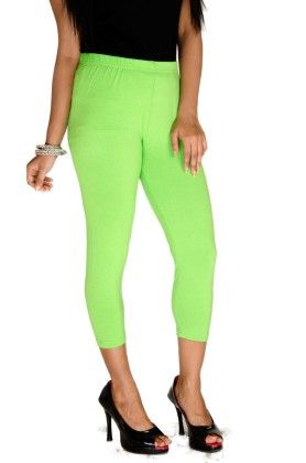 3/4th Leggings Solid Lycra Parrot Green - De Moza