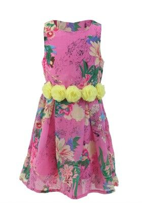 Pink-yellow Georgette Floral Print Dress - Magic Fairy