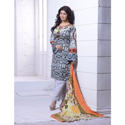 Madhubala Printed Multicolour Semi Stitched - Gray - Haseen