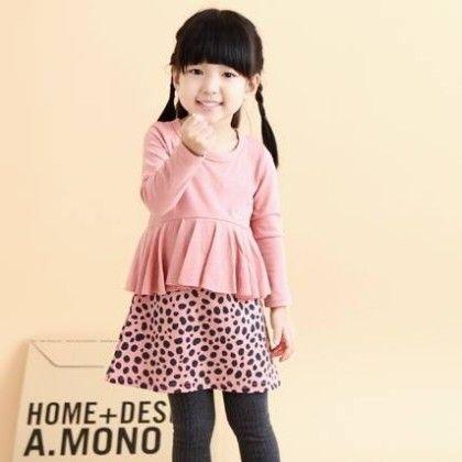 Peach Peplum Dress - Petite Kids