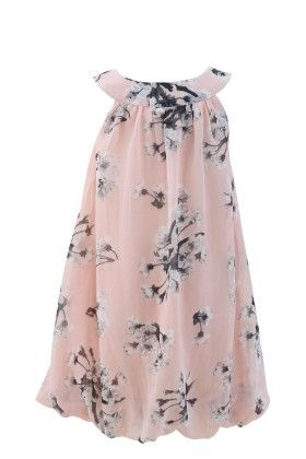 Peach Georgette Bib Neck Line Casual Dress - Magic Fairy