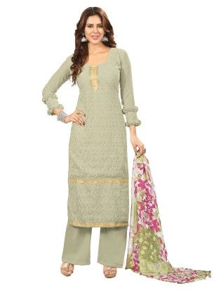 Exclusive Olive Green Faux Georgette Designer Semi Stitched Salwar Suit - Riti Riwaz