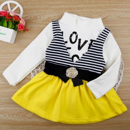 Yellow Love Dress With Stripe Prints - Chirpy Frost