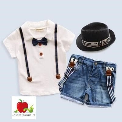 T-shirt And Denim Suspenders Shorts - Adores