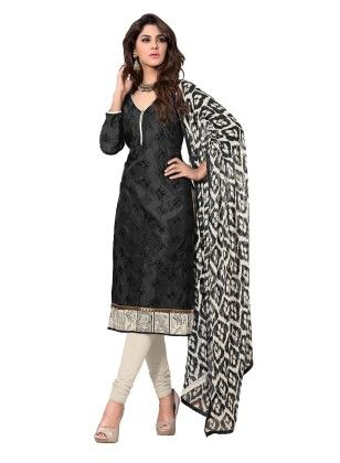 Black Embroidered Dress Material With Matching Dupatta - Riti Riwaz