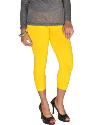 3/4th Leggings Solid Lycra Golden Yellow - De Moza