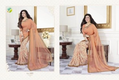 Peach Half Printed Saree - Afreen