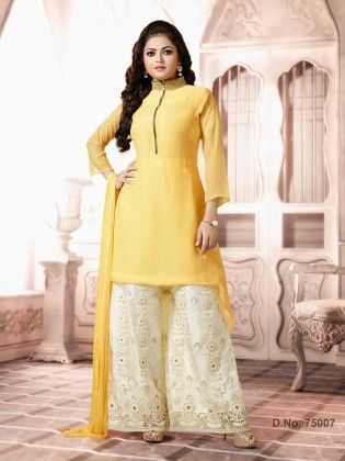 Yellow - Georgette Dress Material - Touch Trends Ethnic