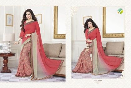 Tomato Half Printed Saree - Afreen