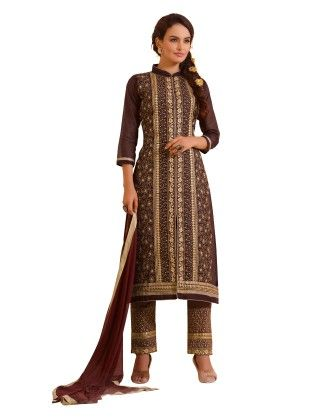 Brown Exclusive Straight Fit Dress Material With Nazmeen Fancy Dupatta - Riti Riwaz